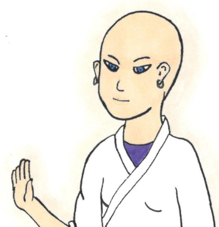 bald female karate instructor looking kind