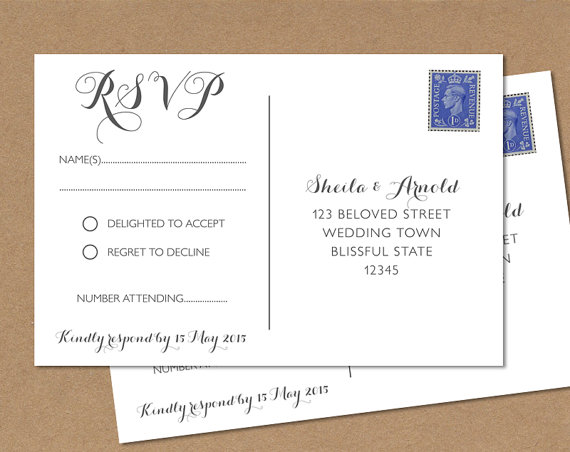 RSVP response card for wedding, one of the acronyms used daily