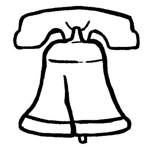 """line drawing of the Liberty Bell by Jenifer Tull-Gauger for """"The Can-Do Karate Kid"""" cover design"""