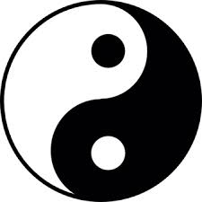 yin yang made with black and white shapes