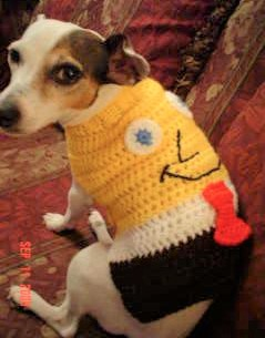 Dog similar to the one in the poem wearing a handmade SpongeBob doggy sweater