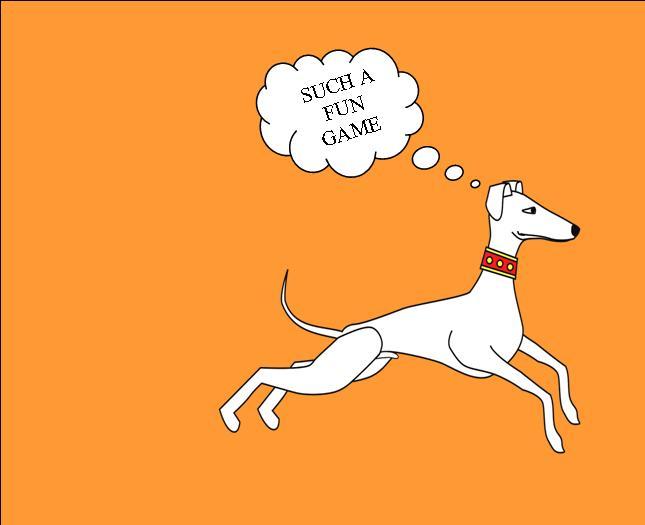 Greyhound dog running.