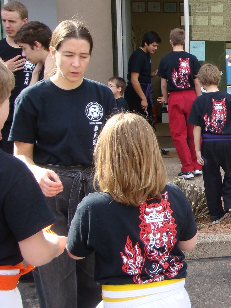 the author teaching karate and giving advice to build character