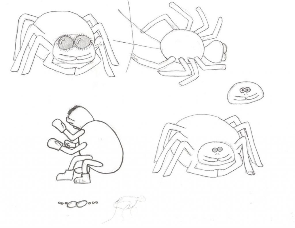 children's picture book concept art for dishonesty spider