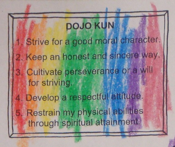 the Dojo Kun of traditional karate, colored in a rainbow of crayons