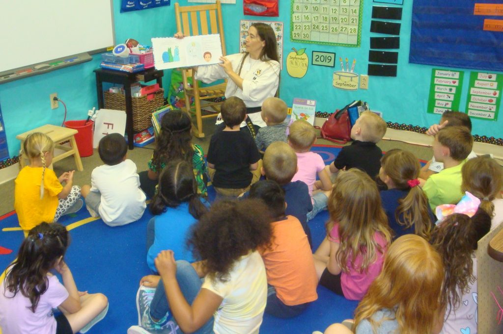 karate picture book reading to a class