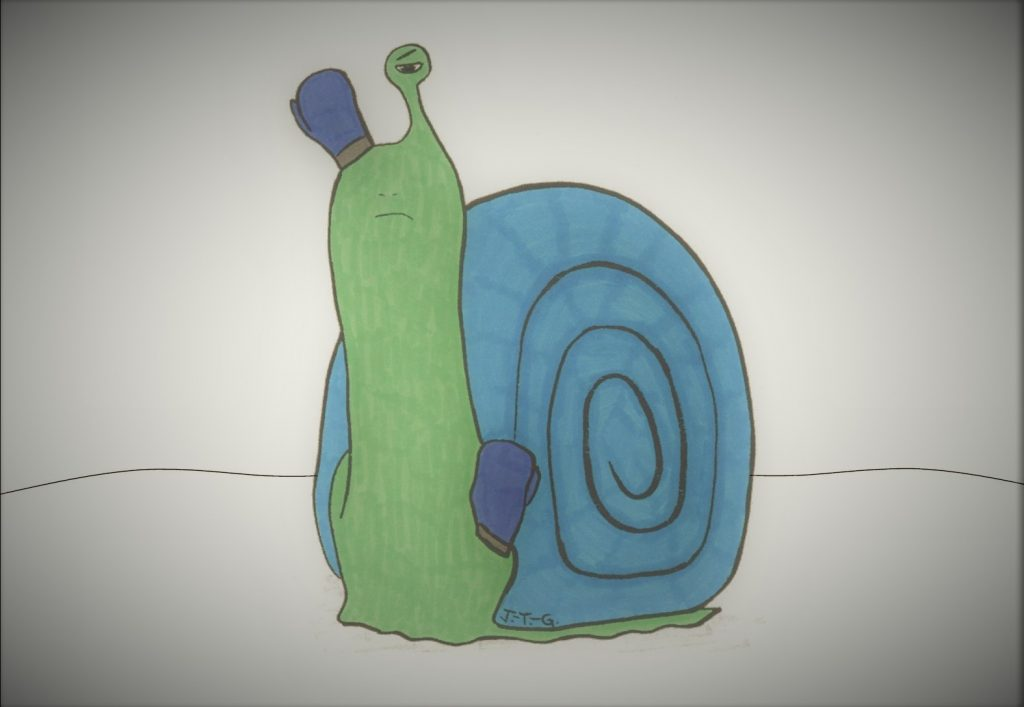 "Procrastination snail monster from ""The Can-Do Karate Kid"" book"