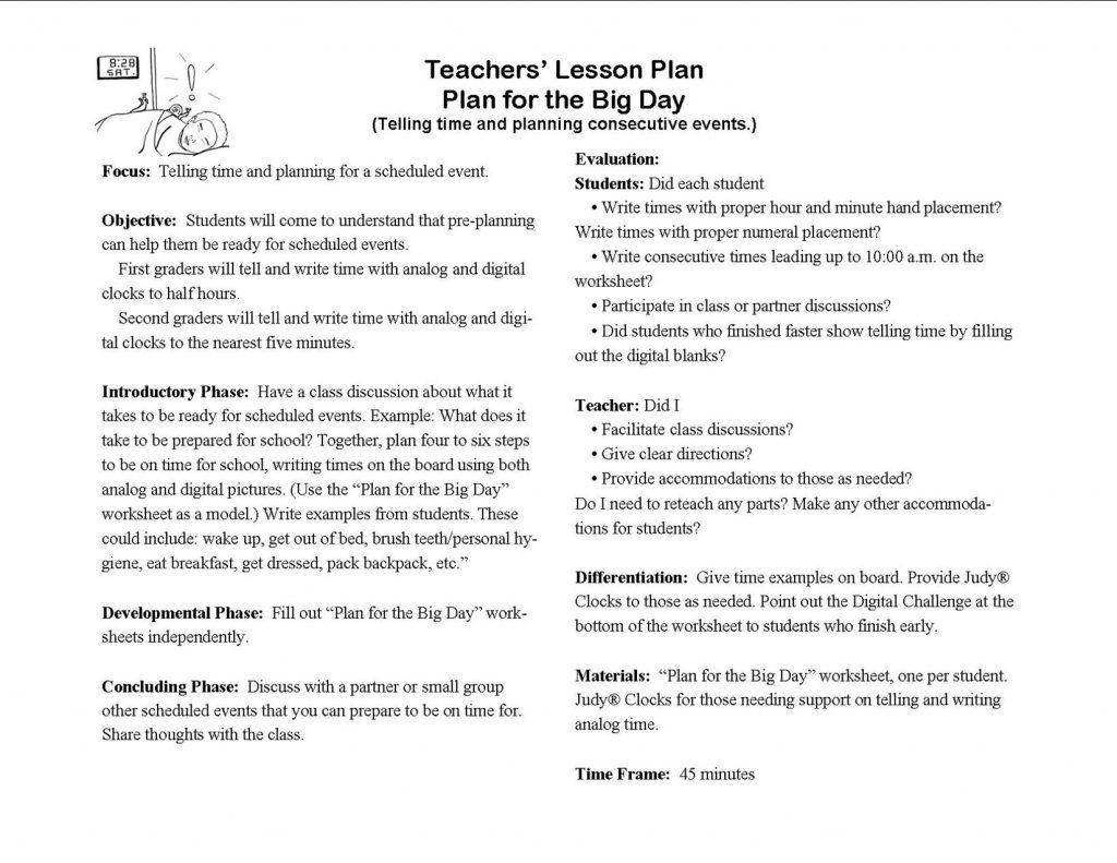 telling time teachers' lesson plan