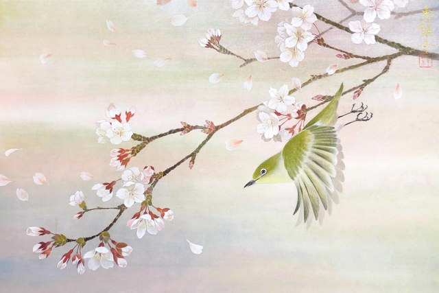 cherry blossom art to accompany haiku