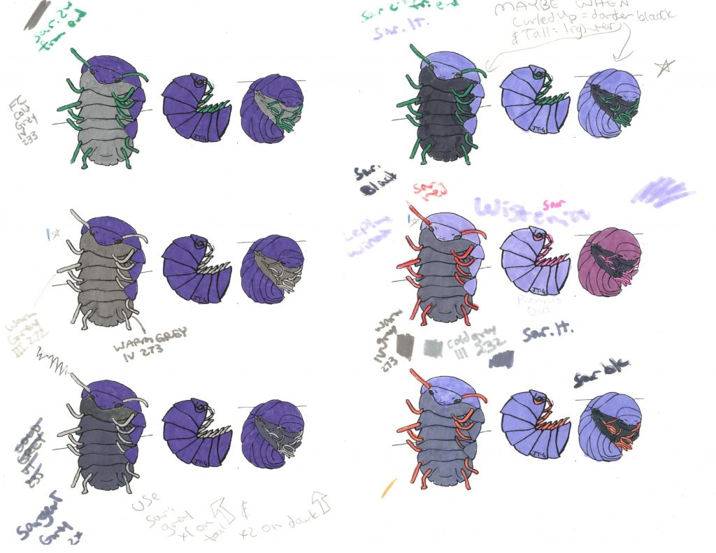 first sheet of color tests for quitting monster illustration