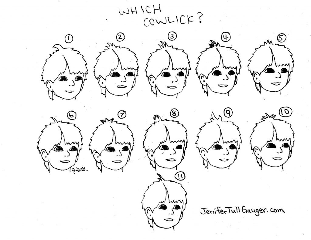 This cowlick test shows 11 different styles on this kiddo who's building character. He's our youngest, newest main character in the Dojo Kun Character Book series. Which cowlick is best?